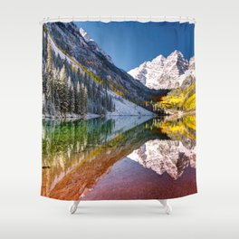 OLena Art Maroon Bells And Maroon Lake Near Aspen Colordo Shower Curtain