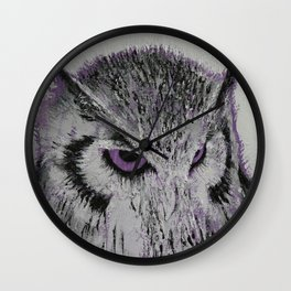 Violet Owl Wall Clock