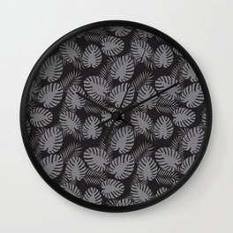 Tropical Print Grey & Black Wall Clock