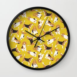 beagle scatter yellow Wall Clock