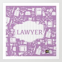 lawyer Art Prints featuring purple lawyer  by Be Raza