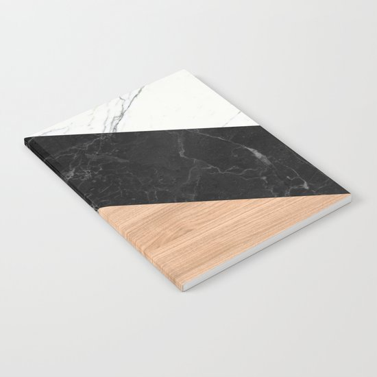 Marble and Wood Abstract Notebook