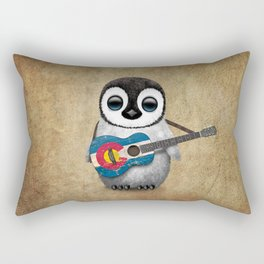Baby Penguin Playing Colorado Flag Guitar Rectangular Pillow