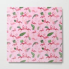 Flamingos Love Pattern 2 Metal Print