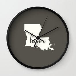 Louisiana is Home - White on Charcoal Wall Clock