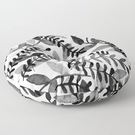 Watercolor branches - black and white Floor Pillow