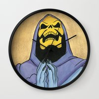 skeletor Wall Clocks featuring Saint Skeletor by Ghirigori Lab