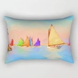 Rainbow Fleet Rectangular Pillow