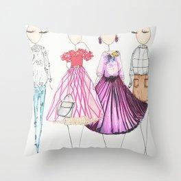 Chic Clique Fashion Illustration Throw Pillow