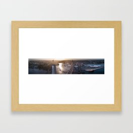 Aerial Panorama of ANZAC Bridge and the Inner West of Sydney Framed Art Print