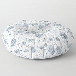 Flower Pattern - Gray/Blue/Charcoal Floor Pillow
