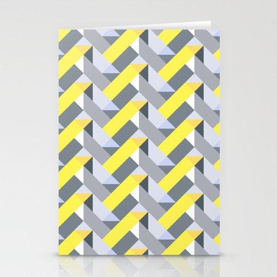 Herringbone geometric yellow Stationery Cards