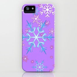 LILAC PURPLE WINTER SNOWFLAKES iPhone Case