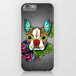 Boston Terrier in Red - Day of the Dead Sugar Skull Dog iPhone Case