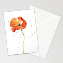 Red Poppy Painting Watercolor Stationery Cards