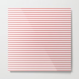 Mattress Ticking Narrow Horizontal Striped Pattern in Red and White Metal Print