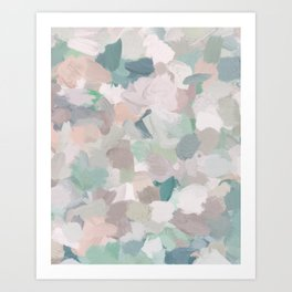 Mint Seafoam Green Dusty Rose Blush Pink Abstract Nature Flower Wall Art, Spring Painting Print Art Print