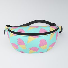 Pink Ice Cream on Blue Fanny Pack