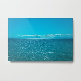 Beautiful blue sea with mountains and big clouds in the background Metal Print