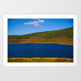 Calm water pond with greenery on mountain in background Art Print