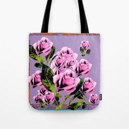 Pink -Black Color  Roses  Lavender Garden Pattern Blue Art Tote Bag