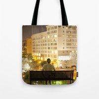 500 days of summer Tote Bags featuring 500 Days of Summer by Kevin Clark