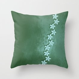 Beautiful blue flowers and green grunge texture Throw Pillow
