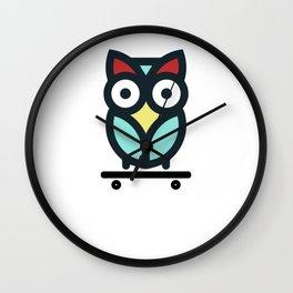 Owl Skateboarding Skateboarder Nocturnal Birds Night Hunter Animals Wildlife Wilderness Gift Wall Clock