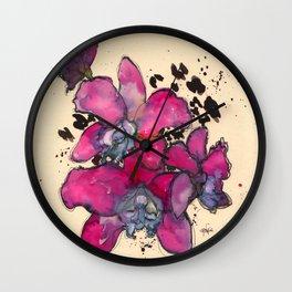 Fuchsia Orchids Wall Clock