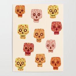 Dia de los Muertos Mexican Decorated Skull Art Poster
