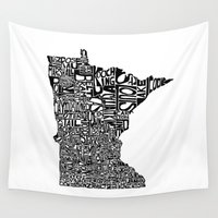 minnesota Wall Tapestries featuring Typographic Minnesota by CAPow!