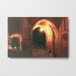 Night in Downtown Montefiore dell'Aso (1 of 2 color choices) Metal Print