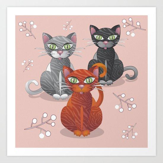 Three nice tiger cats Art Print