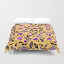 Flower yellow  purple Duvet Cover