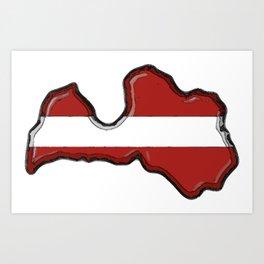 Latvia Map and Latvian Flag Art Print