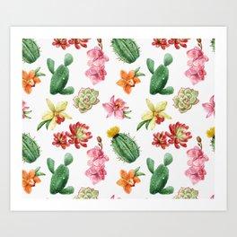 Watercolor Cacti Pattern Art Print