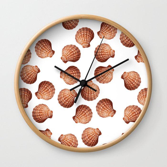 White big Clam pattern Illustration design Wall Clock