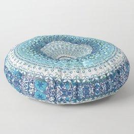 Teal Tapestry Mandala Floor Pillow