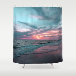 Pink and Teal Beach Sunset tropical vacation Shower Curtain