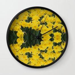 SPRING YELLOW DAFFODILS GARDEN DESIGN Wall Clock