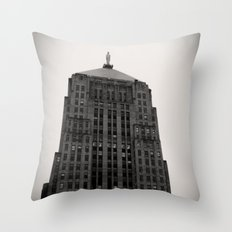 Chicago Board of Trade Building Black and White Throw Pillow