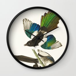 Magpie Vintage Scientific Bird Illustration Wall Clock