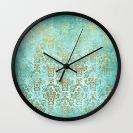 Mermaid Gold Aqua Seafoam Damask Wall Clock
