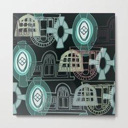 Neighbourhood Windows - green Metal Print
