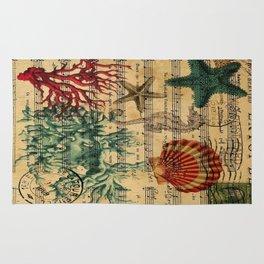 french botanical art music notes starfish seashell Rug