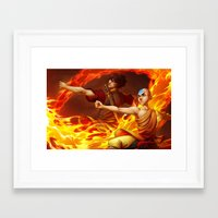 zuko Framed Art Prints featuring Aang and Zuko by artofcarmen