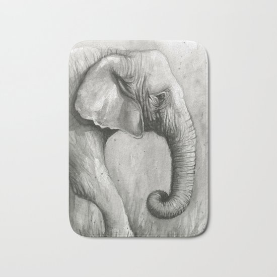 Elephant Black and White Watercolor Animals Bath Mat