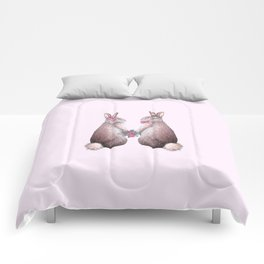 Valentines day Rabbits in love, bride and groom, watercolor, wedding, engagement, romantic Comforters