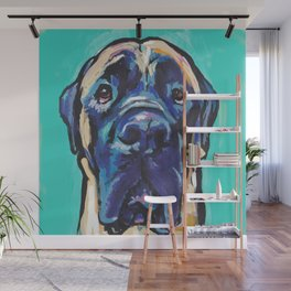 Fun ENGLISH MASTIFF Dog bright colorful Pop Art Painting by LEA Wall Mural