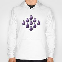 hiccup Hoodies featuring Funny Cartoon Eggplant Pattern by Boriana Giormova